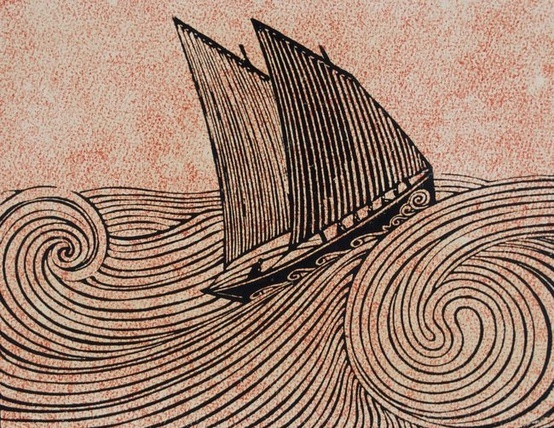 """René Quillivic, """"Le voilier"""", 1920. Outre sa remarquable modernité artistique, 'le voilier' de Quillivic concorde parfaitement avec le type des""""beg-hir""""sardiniers illustrés par  """"La Barbinasse""""..."""