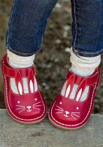 Livie and Luca Bunny Girl Shoes - Molly Shoes in Red Leather