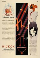 1937 Ad Hickok ActionBAK Braces Men's Suspenders Belts - ORIGINAL ADVERTISING