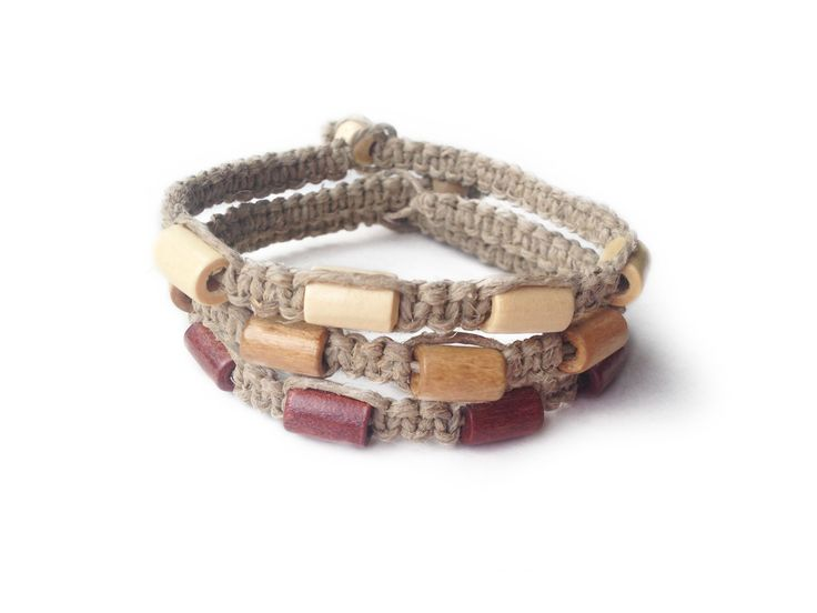 SAND PIT: Natural Hemp Cord with Wood Seed Beads