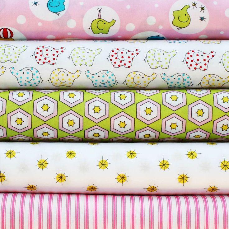 BACKYARD CIRCUS PINK - FQ Bundle of 5 - Ella Blue Fabrics