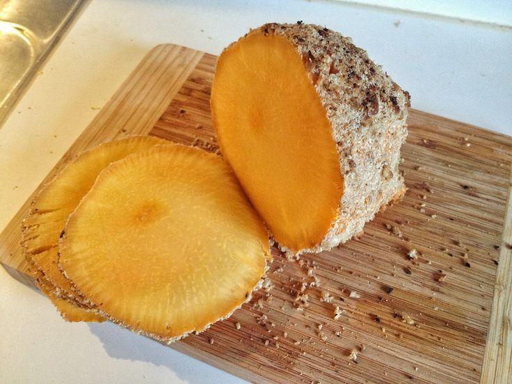 """Vegeterian/vegan christmas """"ham"""" made of yellow turnip! #christmas #vegan #ham #vegetarian #glutenfree #organic"""