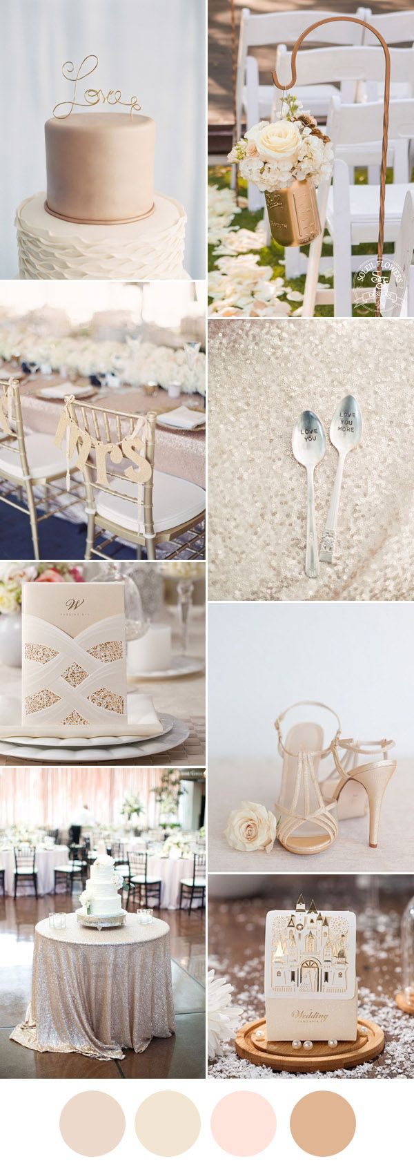 elegant champagne and ivory wedding color inspiration