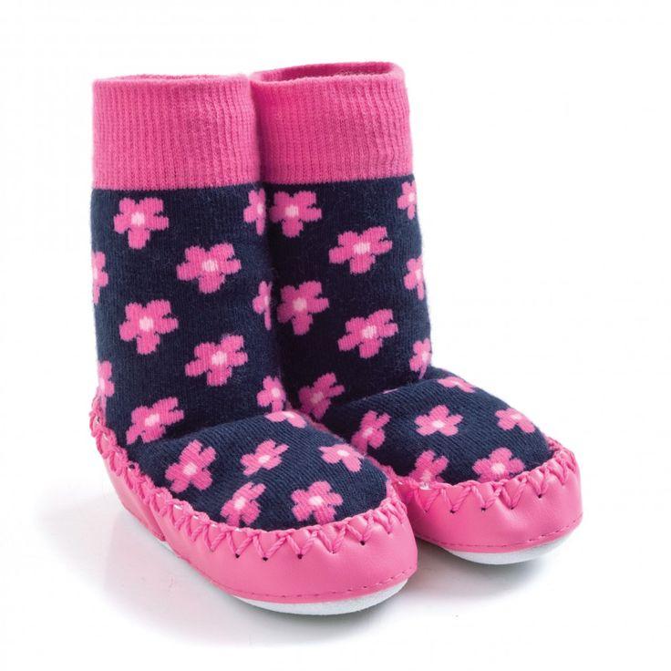 Navy Floral Stripe Slipper Socks | JoJo Maman Bebe