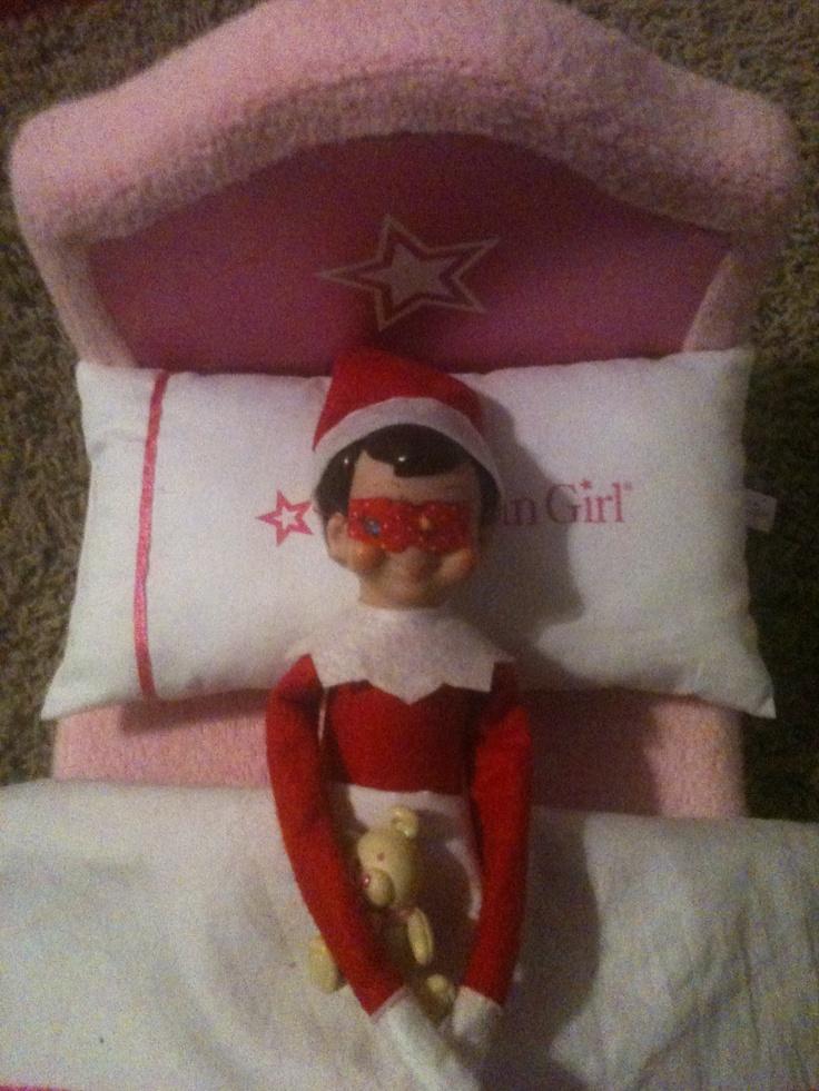Elf On The Shelf Idea Asleep With Sleep Mask Elf On The