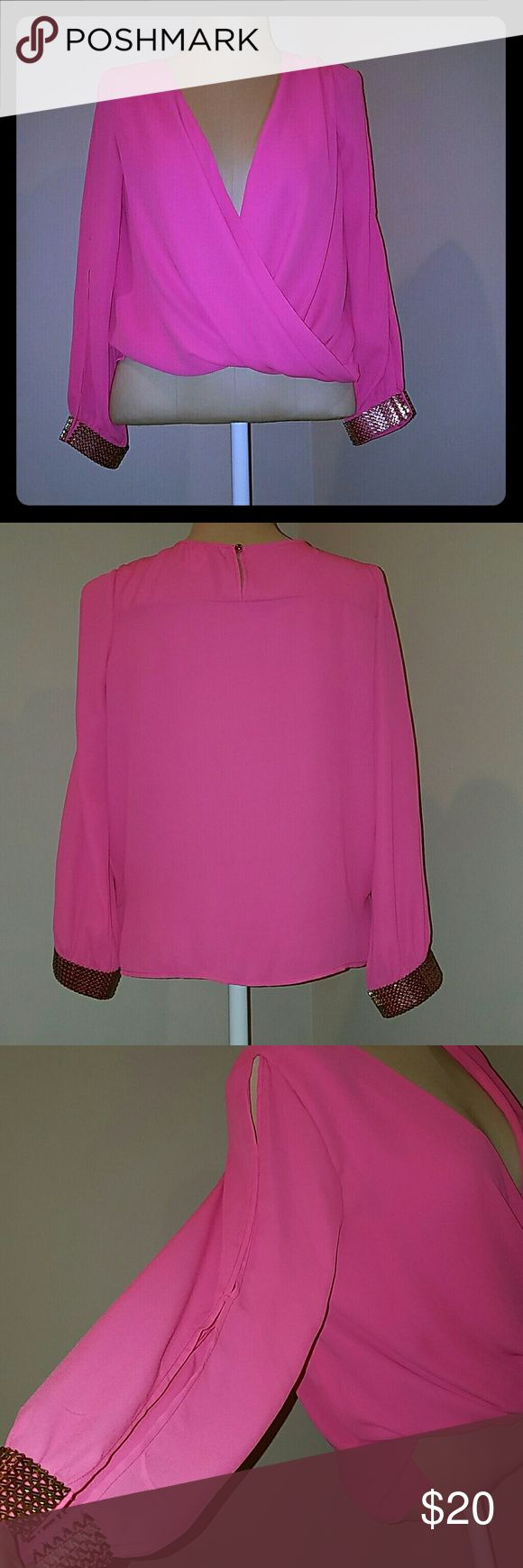 Hot pink blouse w/ gold sleeve accents Agaci hot pink long sleeves with skits  (see 3rd pic). Can be worn open as shown in 1st pic or buttoned in front as shown in last pic. Only worn once for about 2 hrs. a'gaci Tops Blouses