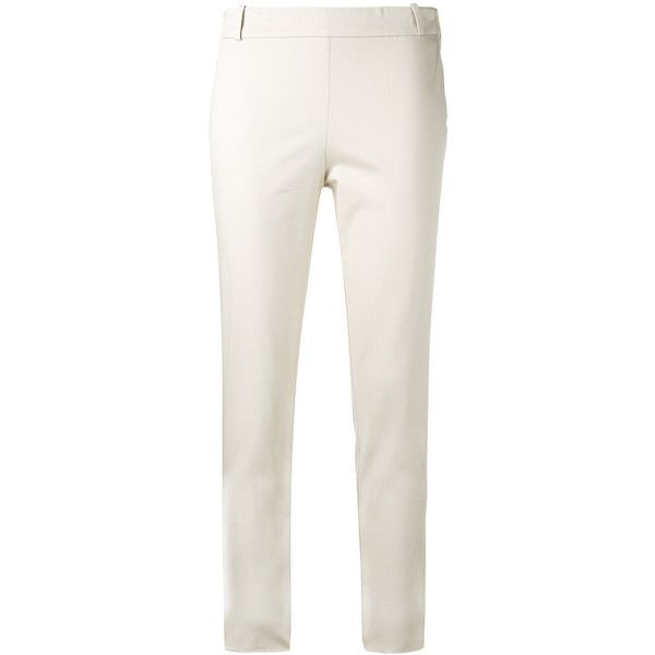 Kiltie Cropped Trousers ($184) ❤ liked on Polyvore featuring pants, capris, cotton pants, white cotton pants, white pants, white cropped trousers and cropped pants