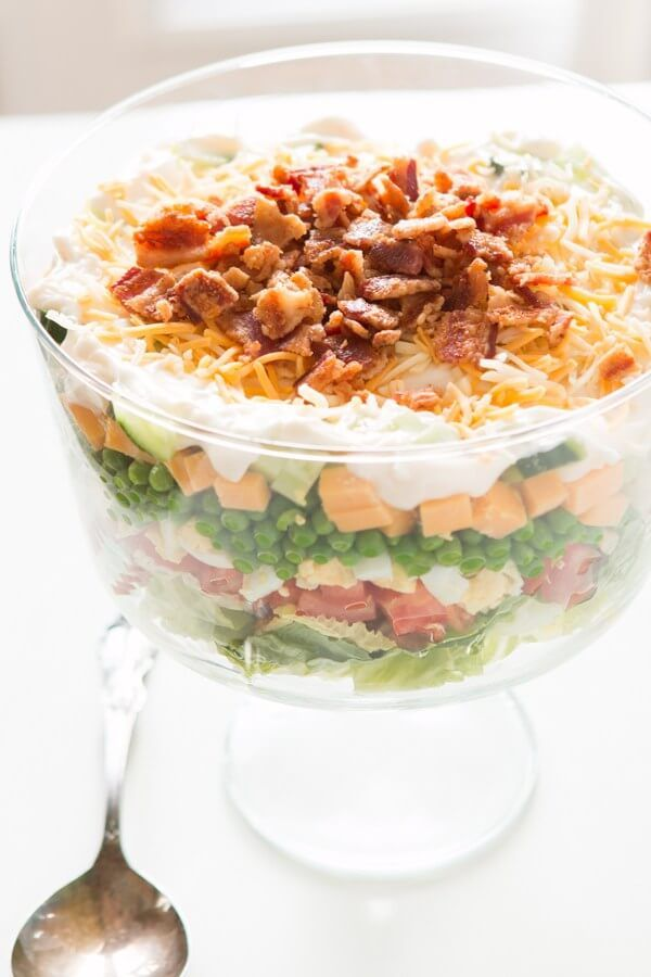 Traditional Seven Layer Salad Recipe Oh Sweet Basil Recipe Layered Salad Recipes Pea Salad Recipes Pea Salad