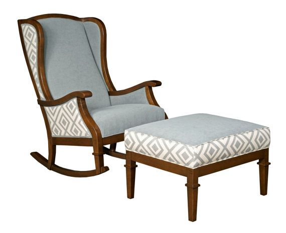 Made To Order  Rocking Chair   Wingback   Nursery Furniture   Upholstered  Vintage Furniture