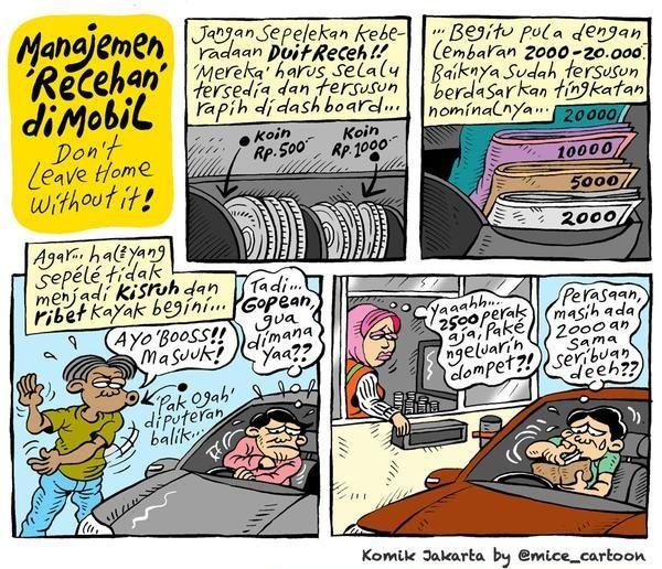 Mice Cartoon, Komik Jakarta - Januari 2015: Manajemen Uang Recehan Di Mobil