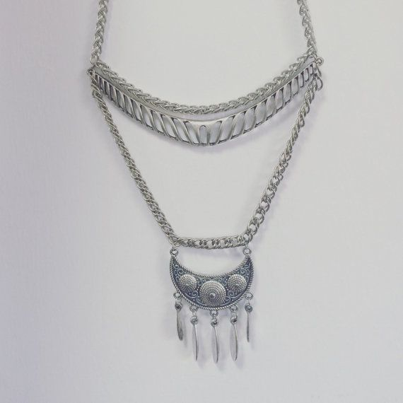 Ethnic Pendants necklace,Silver drops Necklace, silver coins necklace,gipsy silver statement,modern materials, rope jewelry, spring jewelry