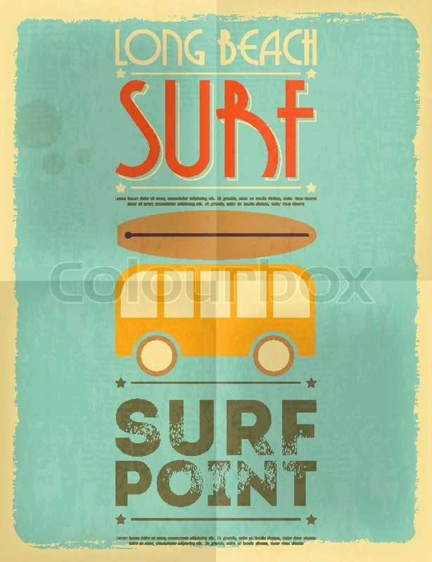 Surf Retro Poster with Bus in Flat Design Style. Vector ...