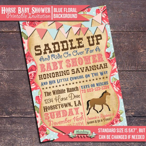 Girl Horse Baby Shower Invitation Shabby Chic by BloomberryDesigns
