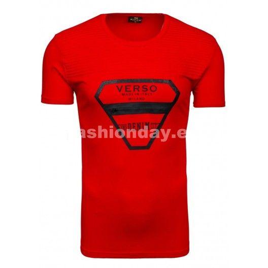 Pánske tričko s okrúhlym výstrihom v červenej farbe - fashionday.eu