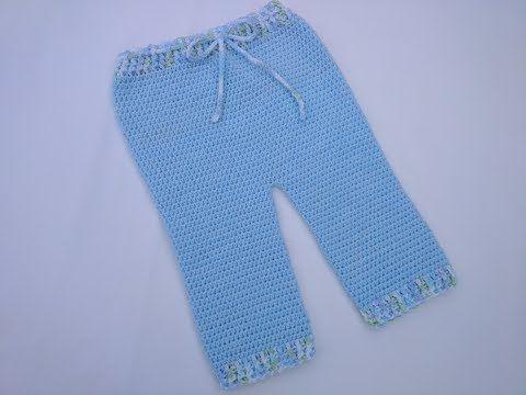 Pantalón básico para bebé tejido a crochet - YouTube