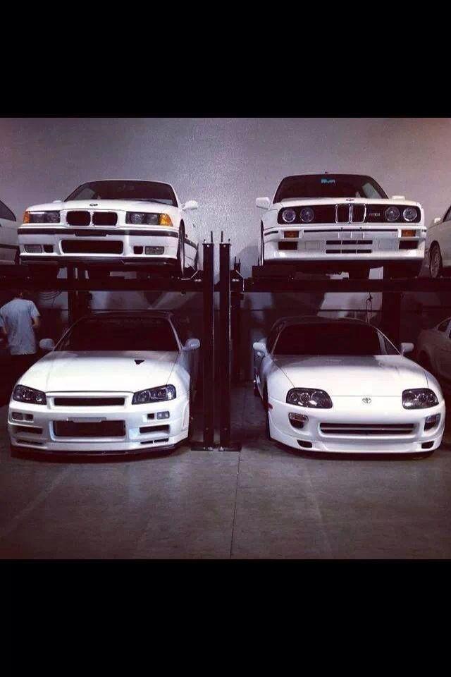 BMW M3's + Skyline R35 + Supra AE Performance Garage