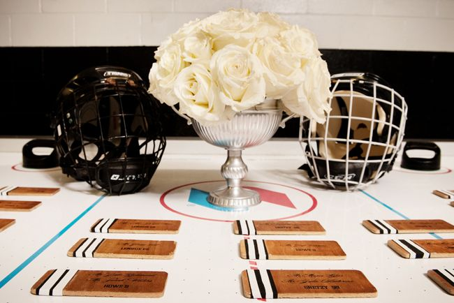 Hockey Escort Cards I found on a blog. Used this idea for my wedding and they turned out great!