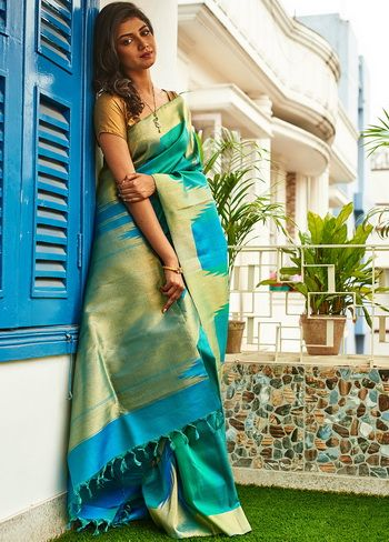 Green Kanchipuram Hand Woven Pure Silk Saree With Blouse - CY027 | Indian Silk House Agencies