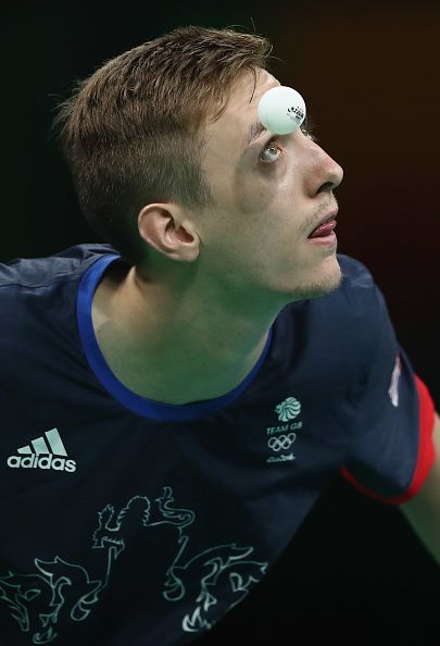 Liam Pitchford of Great Britain serves during the Table Tennis Men's…