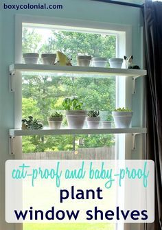 DIY Window Plant Shelves tutorial: Baby and Cat proof (or at least baby and cat resistant)
