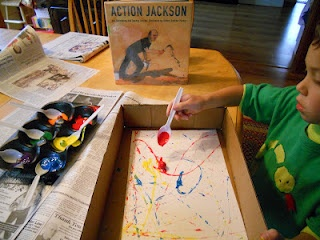 action jackson project with paint and marbles!
