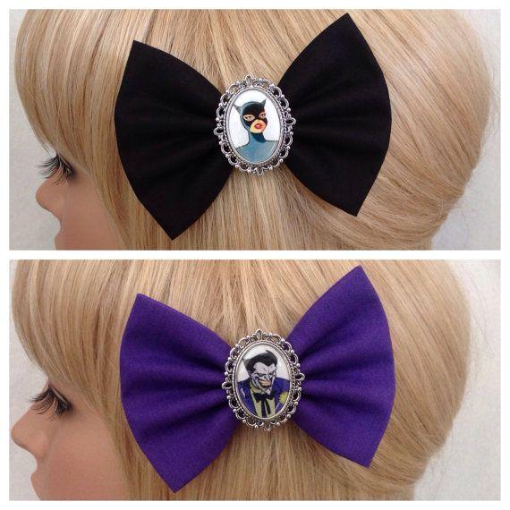 Cat woman Joker hair bow clip rockabilly by GrimAndProperDesigns