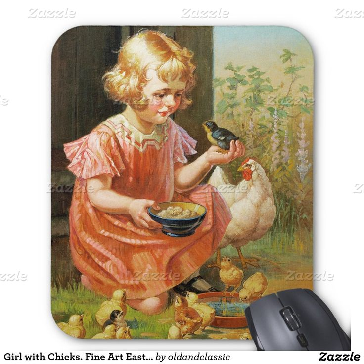 "Fine Art Easter Gift Mousepads. ""Girl with Chicks"", Oil Painting, circa 1900. Artist: William H. Lister. Matching cards and gifts available in the Holidays / Easter Category of the oldandclassic store at zazzle.com"