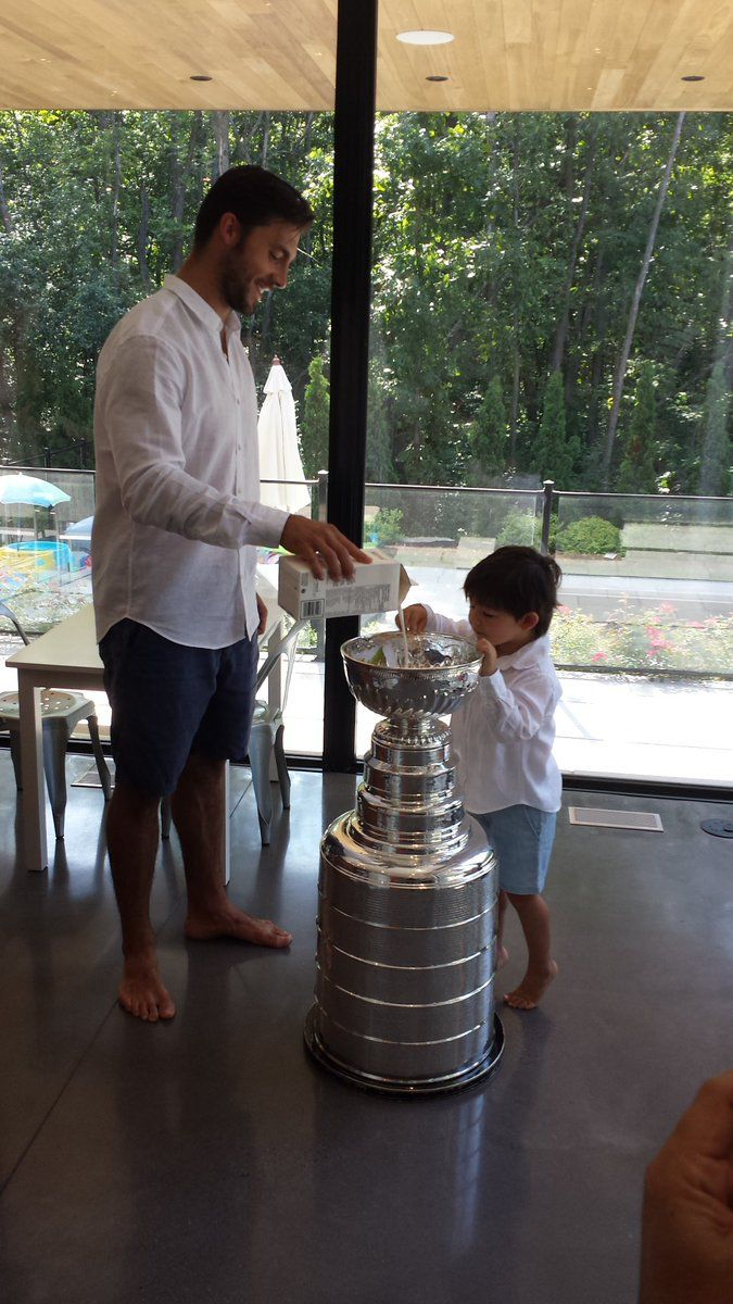 The Letangs eat cereal out of the Stanley Cup!!
