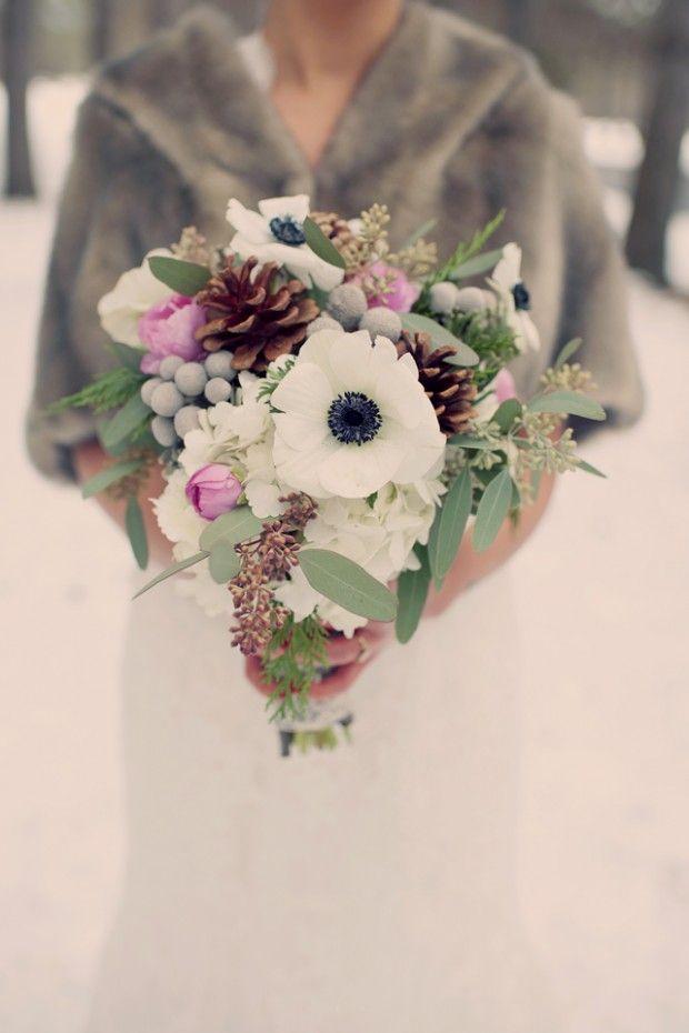 Amazing Woodsy Winter Wedding Complete With Snowman Pops Of Caspian Blue Ashley Jeff BouquetsWinter IdeasWinter