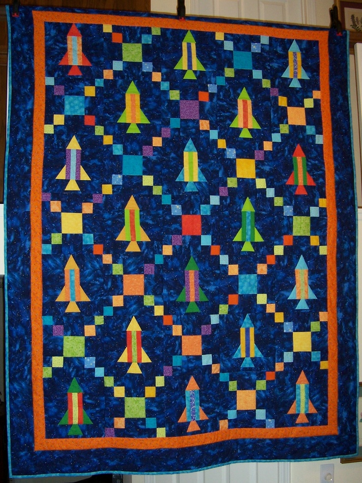 Rocket ship quilt with a single irish chain pattern