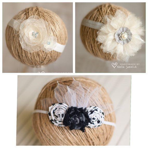 Baby Headbands Set Girls Headbands Tie Back Headbands by ZigZagUA