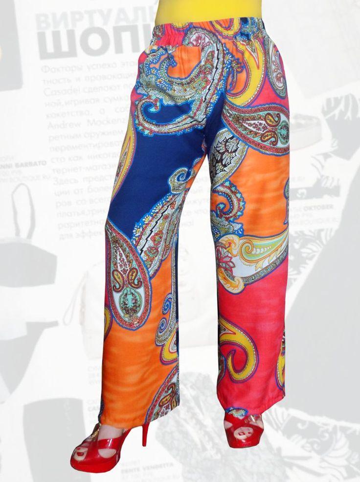 27$ Летние брюки прямые от бедра из штапеля для полных девушек Артикул 672, р50-64