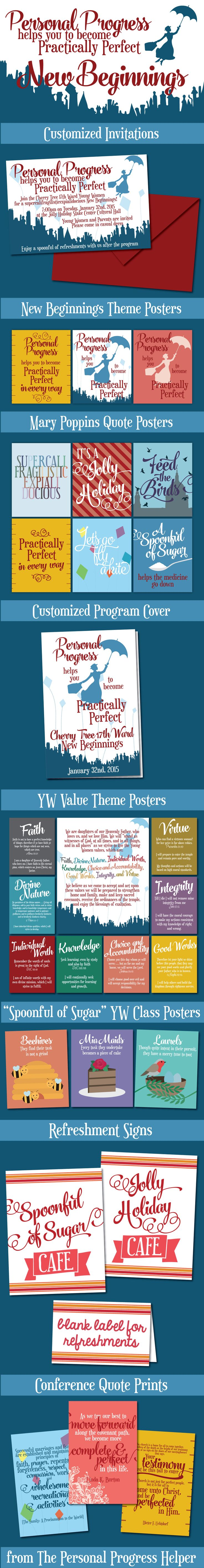 "TONS of resources for LDS Young Women 2016 New Beginnings theme ""Personal Progress Helps You to Become Practically Perfect"" from Mary Poppins"