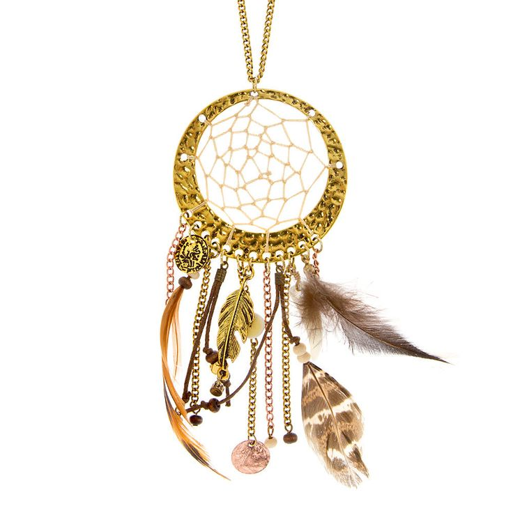 Antique Gold and Natural Thread Dream Catcher with Real Feather, Horn, Beads and Chain Fringe Pendant Necklace | Icing
