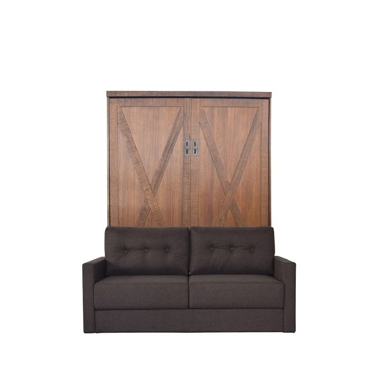 RoomAndLoft Queen Factory Sofa-Murphy Bed in Reclaimed Brown Finish and Scotts Highland Fabric