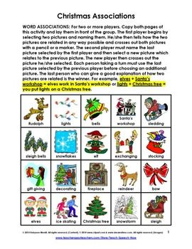 Christmas Word Associations is a 2-page excerpt from our 128-page Christmas unit that is filled with charming illustrations and 23 fun speech and language activities for school-age children. Enough materials to keep you and your students busy for the entire month of December.