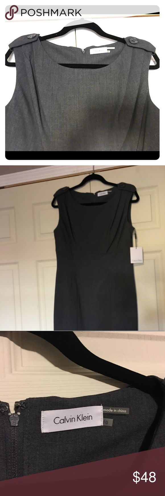 Calvin Klein NWT charcoal dress sz 10 Gorgeous Calvin Klein charcoal dress  NWT  Size 10  Classic pleats and button detail at shoulders.  🚭 Comes from a smoke-free home  🍀 No rips, tears, or stains 🦋 Brand new with tags Calvin Klein Dresses