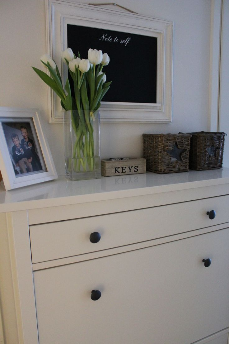 Home, Ikea Hemnes shoe cabinet, Riviera Maison, flowers, new england style.