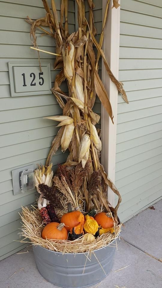 Exactly the inspiration I was looking for with the galvanized bucket and corn stalks!