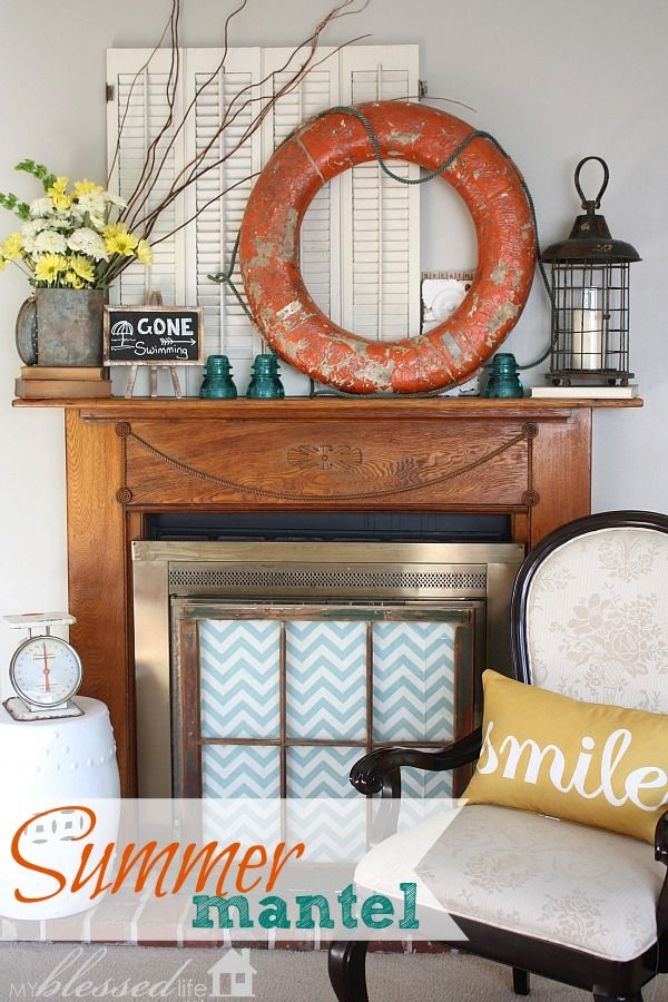 "How to create a ""Bright & Happy Summer Mantel"" @Myra"
