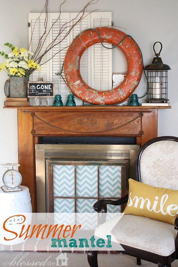 "How to create a ""Bright & Happy Summer Mantel"" @Myra Cherchio"