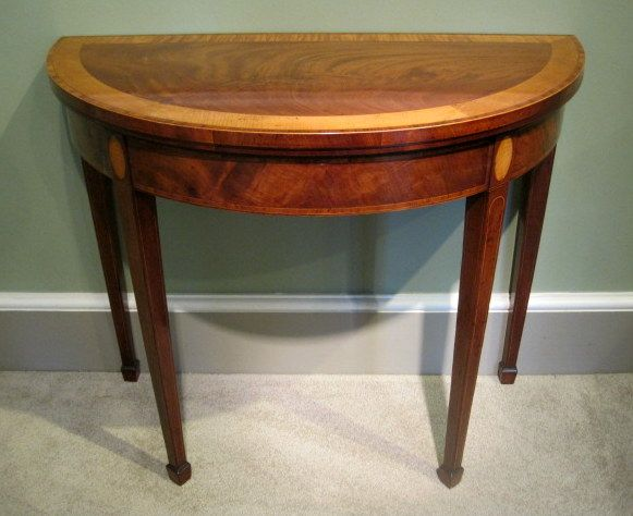 A Fine Smaller Size Sheraton Period Mahogany Demi Lune Card Table, With  Wide Sycamore And Tulipwood Banded Top, Over An Inlaid Frieze, Square  Tapering Legs ...