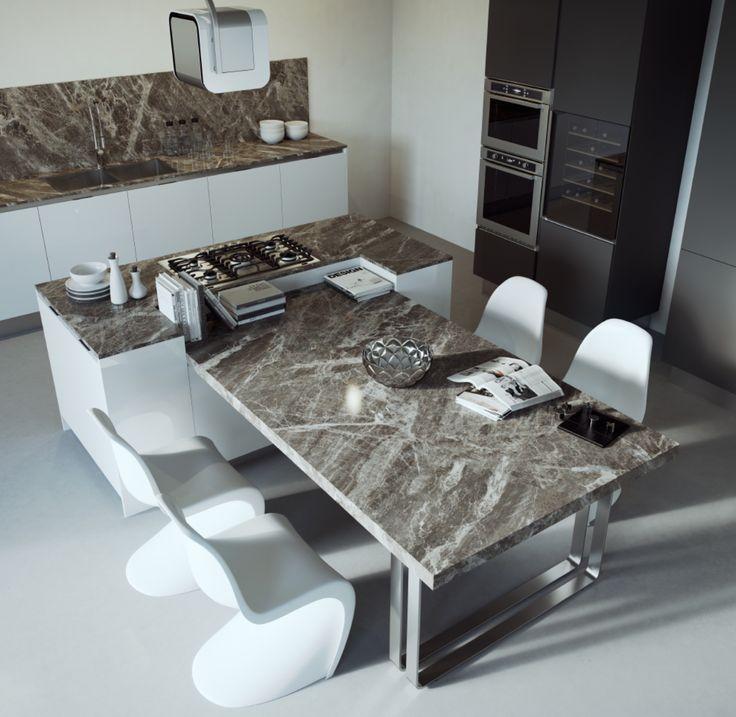 Keuken Met Eiland En Tafel : Marble Kitchen Countertop