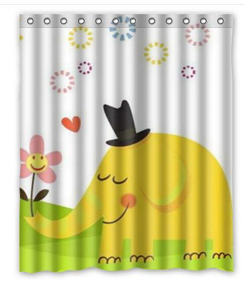 """Cheap 2015 caliente venta de dibujos animados elefante amarillo niños favorita 60 """" x 72 """" poliéster impermeable cortina de ducha para baño, Compro Calidad Cortinas de Ducha directamente de los surtidores de China:            Cortina de ducha                  Diseñado para adaptarse estándar bañeras Evite que el agua salpique f"""
