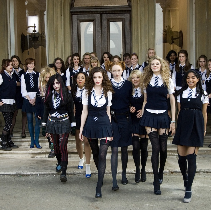 "St Trinians.  ""We're facing the biggest crisis of our lives and you're behaving like bloody children. If this place closes down, we have to go to other schools. And by that I mean *normal* schools."""