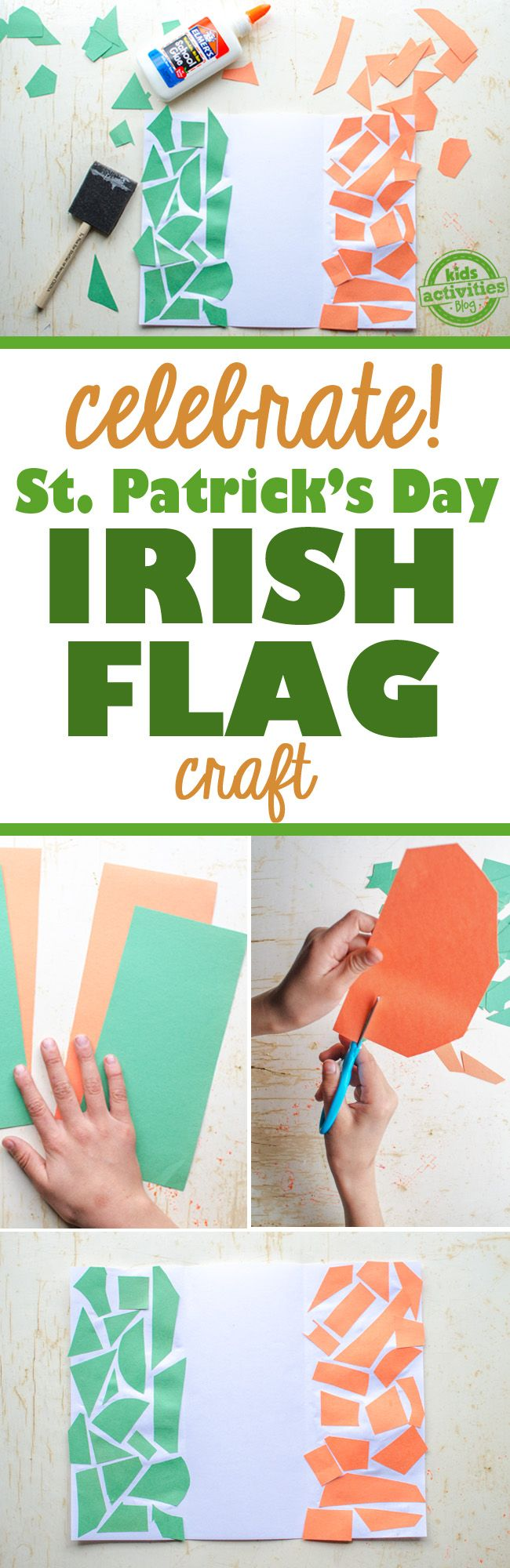 Kids Irish Flag Craft {Celebrate St. Patrick's Day!}