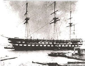 First USS North Carolina, a 74 gun ship of the line launched 1820