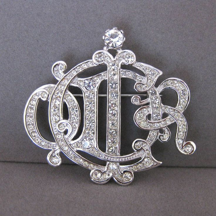 Vintage Christian Dior Clear Rhinestone Script Monogram Logo Pin