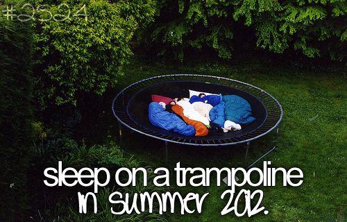 sleep on a trampoline