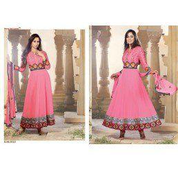 Buy Dinnar Georgette Pink Semi Stitched Salwar Suit at Socrase.com
